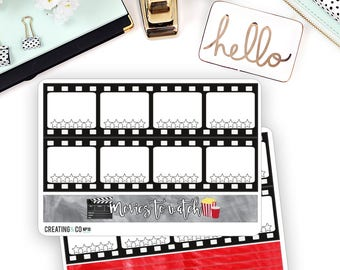 Movies to Watch Note Pages Sticker Set for Larger Size Planners - NP10
