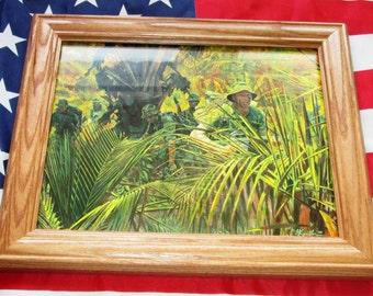 Framed Vietnam War Painting, Mort Kunstler, Indiana Rangers, 151st Army Guard