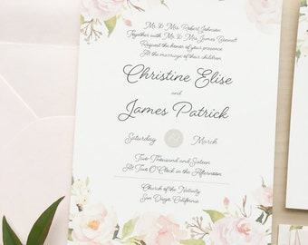 Romantic Blush Floral Wedding Invitation Suite Sample or Deposit / Garden Wedding / #1105