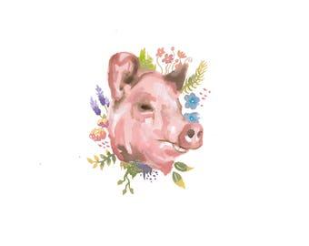 floral pig - original watercolour art