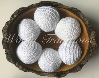 6 Cotton Dryer Balls - made to order