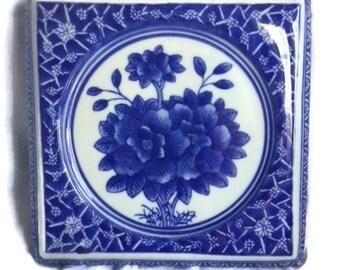 Teapot Trivet - Chinese - Ceramic - Blue and White - Blue - White - 8 Inch Square - Flowers - Trivet - Mark on Bottom