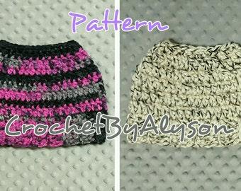 One-Skein Messy Bun Hat Pattern // Crochet Pattern // 2 Patterns in 1 // Easy