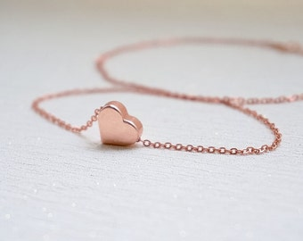 Rose Gold Necklace, Mother's Day, Best Friend Gift, Dainty Jewellery, Flower Girl, Bridesmaid, Maid of Honor, Wedding, Delicate, Mom, Mum