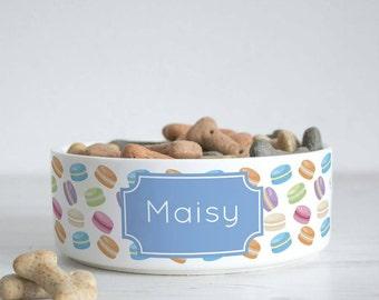Personalised Macaron Pet Bowl - Dog Cat Feeding Dish - Macaroons P32