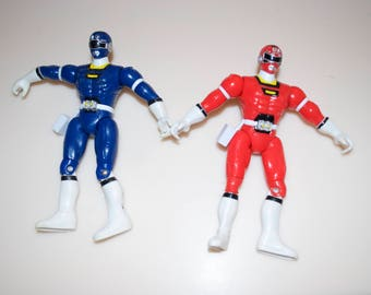 """Power Rangers Turbo Blue & Red Action Figures 1997 Bandai 5.5"""""""