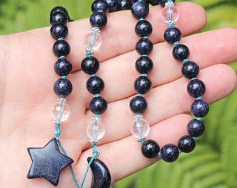 Druid's Ladder, Hand-knotted Blue Goldstone and Quartz - Witches Ladder, Pagan Prayer Beads, Wicca, Witch Mala, Hecate's Key, Pagan Jewelry