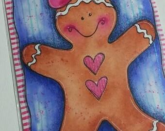 Gingerbread Girl Original mixed media painting 4x6 by Megan