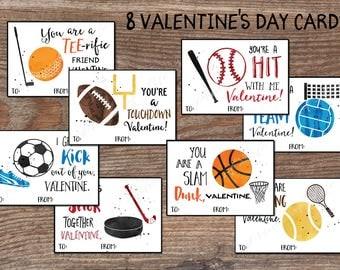 kids valentine cards sports valentines day boys girls instant download pdf printable diy - Football Valentine Cards