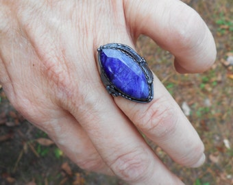 Blue ring,sapphire ring, blue rings,large ring,size 6 1/2 ring,natural sapphire ring,gemstone ring,blue stone ring,sapphire rings, boho ring