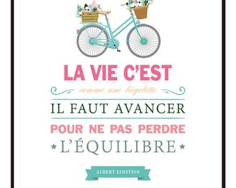 30 X 40 cm - poster - life it's like a bicycle - rule of life text - B