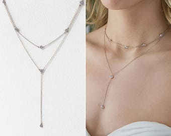 Silver Drop Necklace, Layered Necklace, wedding necklace, wedding jewelry for brides, wedding accessories, bridal necklace, Pendant, N061-S