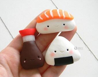 Sushi, Onigiri, nigiri salmon, Soy, Kawaii Magnets Set