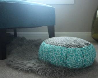 Zafu, Meditation Cushion, Blue and Grey Circles & Dots