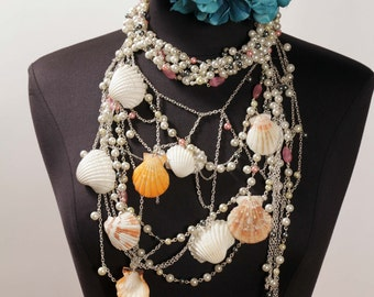 50% OFF SALE She Sells Sea Shells By The Seashore Beach Inspired Mermaid Statement Necklace