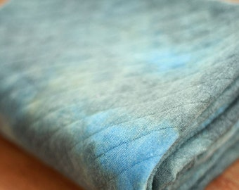 Quilted Knit Fabric Watercolor Grey Blue By The Yard