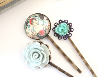 Elegant Deco Hair Pins, Blue Grey Rose, Turquoise Rose Hair Pin, Filigree Hair Pins, Gift for Her