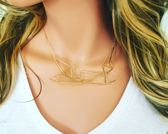 Tangled Kite Necklace / Statement  Necklace / Gold Necklace / Geometric Modern Necklace / Lightweight Necklace / 3-D Necklace / Geometric