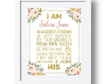 I am the daughter of a King Printable Personalized Christening Gift Custom Girl Baptism Gift Christian nursery wall art Pink and gold Floral