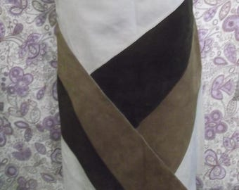 "funky hippy/Steampunk/True Vintage fawn patchwork suede-skirt-Size 12""lined"