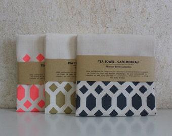Geometric Tea Towel - Abstract Berlin Tea Towel - Cafe Moskau