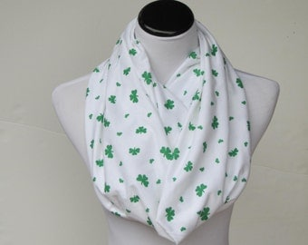 Shamrock Scarf Clover Scarf Saint Patrick's day scarf shamrock scarf white green scarf St. Patrick's day matching scarf for mom & child