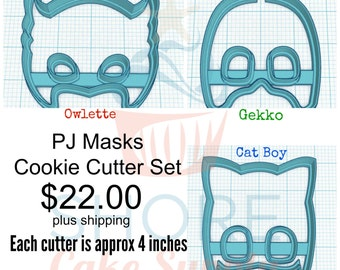 Cat, Owl & Gekko Masks Cookie Cutter Set