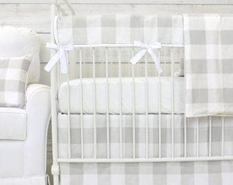Fletcher's Farmhouse Bumperless Baby Bedding | Gray & White Gender Neutral Crib Set | Plaid Teething Guard | Gray and White Crib Rail Cover