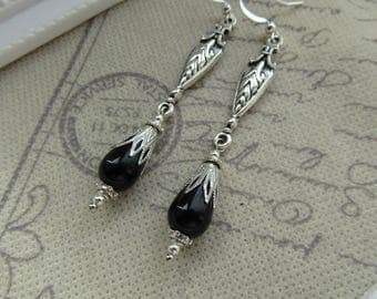 Medieval Style Earrings Gothic Long Drop Black