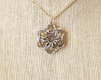 Fossil Coral Maille Flower Pendant