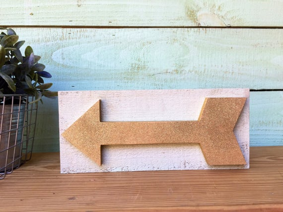 Handcrafted Wood Arrow Sign ~ Gold Glitter on Mint