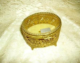 Vintage 24 Kt.Gold Plated Filigree Jewelry Box Casket, Trinket Box, Vanity Box