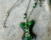 Sexy Corset Necklace, Fairy Green