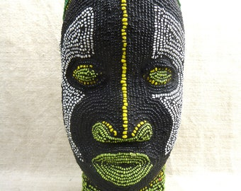 IFE wooden head covered with multicolors glass beads - CAMEROON - Height 27 centimeters