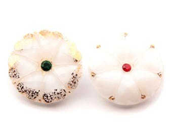 Lot (2) 27mm vintage Czech Bohemian inset rhinestone gold gilt floral white faceted moonglow art glass buttons 3232-157