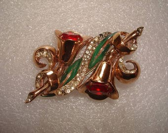 """Rare Vintage 2 1/2"""" Signed Coro Duette Trumpet Floral Brooch Pin / Fur Clips"""