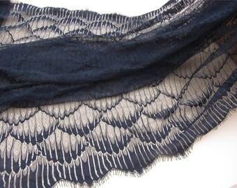 "black tassels eyelash Lace Fabric ,off  White Chantilly Lace fabric  for wedding 59"" width 3 yards"