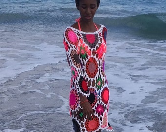 Handmade crochet cover up. Multicolor