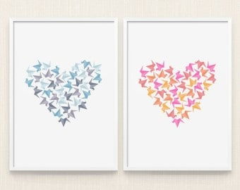 Sale, Set Art, Valentines gift, Heart print, Bird wall art, Print wall art, Origami art, Colorful wall art, Nursery art print, Printable art
