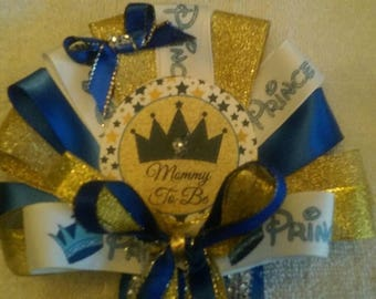Baby shower prince mommy to be pin on corsage