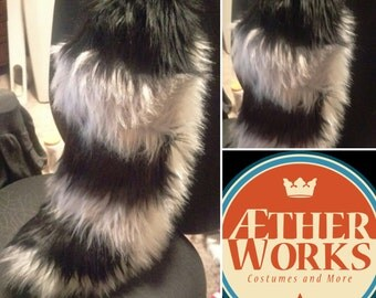 Stripped Fox Set--Medium-- CHOOSE YOUR COLOR,Custom tail and ear set, Furry, Fursuit, fox, wolf tail, headband ears, gift set. fursuit tail