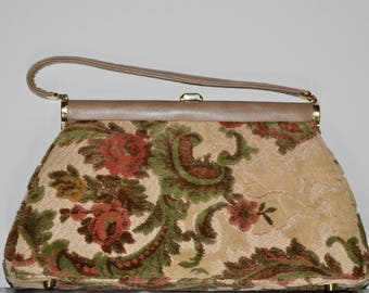 Vintage 1960s Julie Resnick Floral Large Chenille Doctor Shaped Hand Bag with Leather Trimming