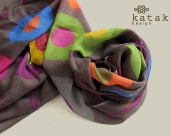 Wool silk scarf, printed scarf, lively and colourful scarf, brown scarf, scarf for spring, gift for woman
