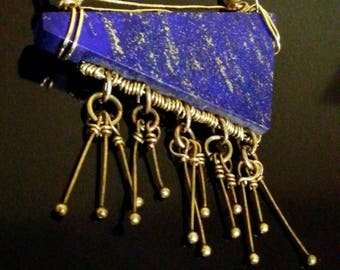 Perseid* lapis lazuli, gold brass, bronze, copper pendant necklace chain fringe