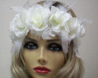 Ivory flower crown, Rose feather headband, Bridal headpiece, Bridal crown, Boho bridal, Bridesmaid floral crown