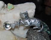 Vintage Sterling Silver Salt Snuff Coke Spice Spoon Collectible Heirloom Kitty Cat and Mouse #BKC-MSC07