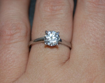 Vintage Classic Round Basket Set CZ Solitaire Engagement Ring in Sterling Silver #BKC-RNG189