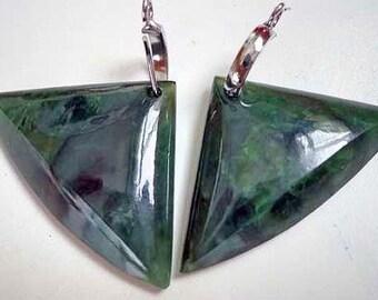 Nephrite jade triangle earrings . S317