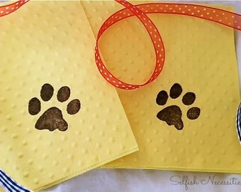 Paw Print Napkins - Puppy Party - Paw Patrol - Kitty Party - Pet Party - Animal Theme - Outdoor Adventure - Camping Party - Animal Tracks