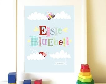 Personalized name print, New baby Print,  Christening gift, Nursery art, Kids wall art, Nursery keepsake.